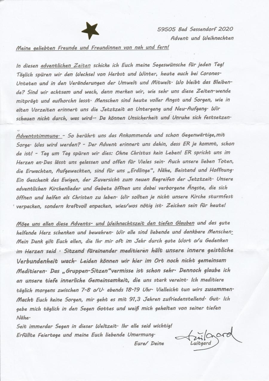 Luitgards Brief zum Advent 2020